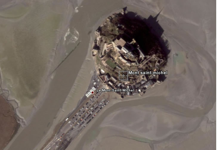 Vue haut mont saint-Michel par Satellite